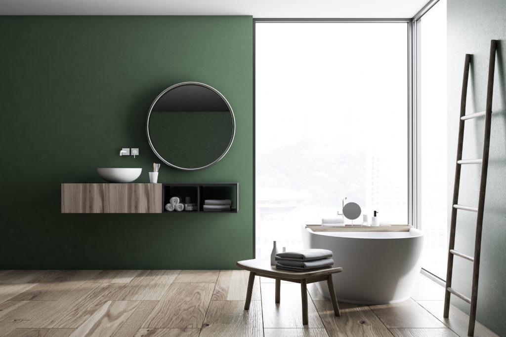łazienka w kolorze butelkowej zieleni