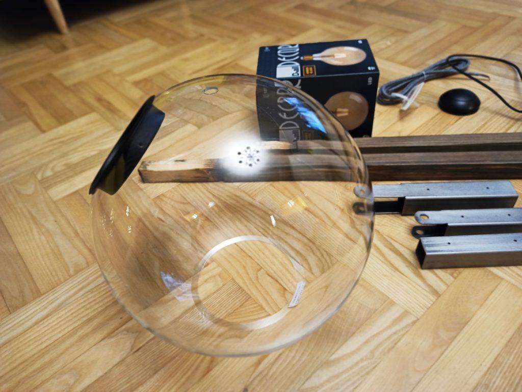szklany klosz do lampy